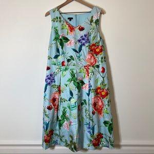 Talbots 14 Blue Floral Pattern A-line Dress